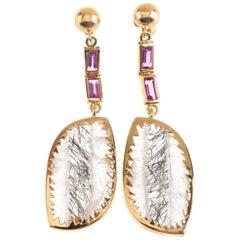 Rutile Quartz Pink Tourmaline Baguette 18 Karat Gold Earrings