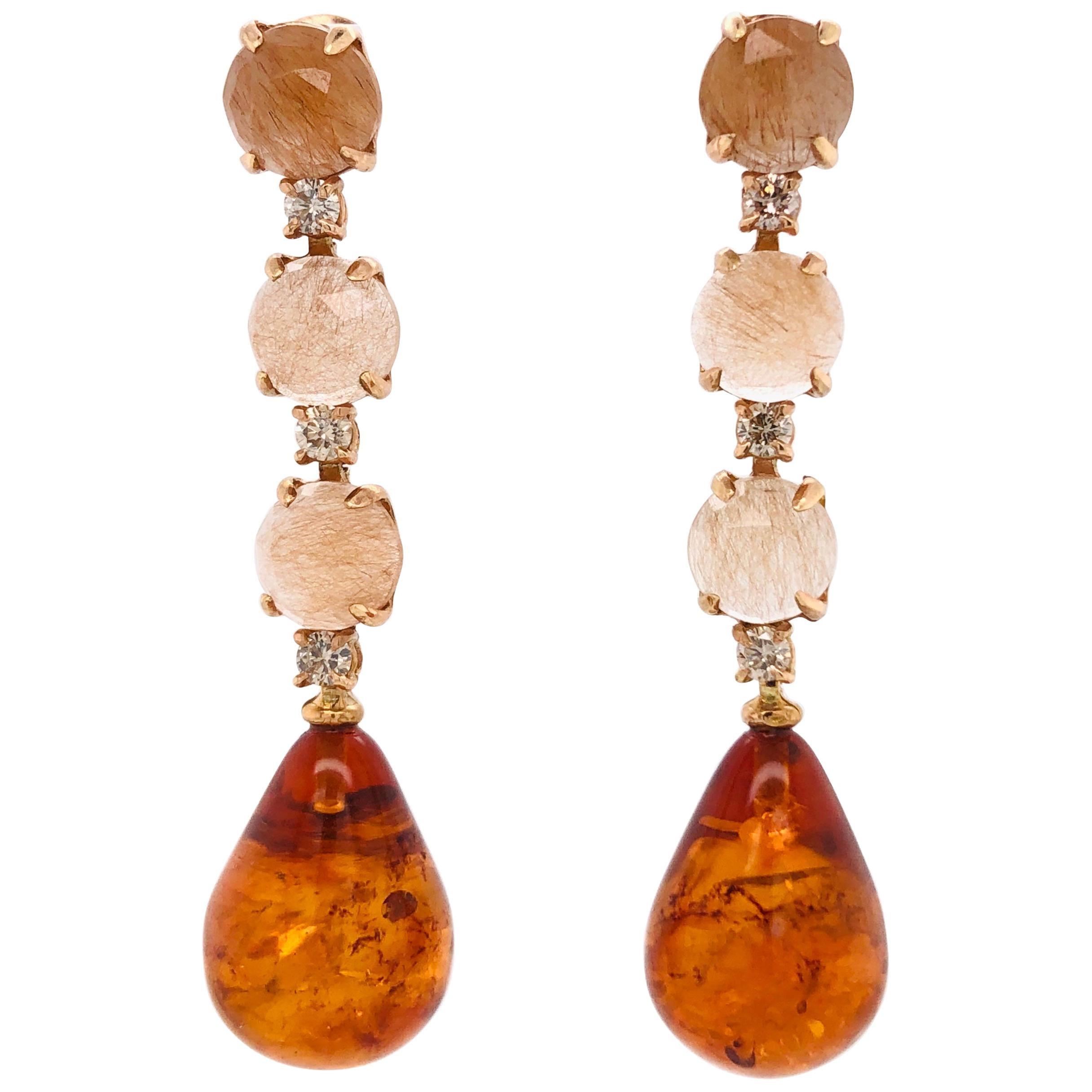 Rutiled Quartz, Brown Diamonds, Amber on Gold 18 Karat Chandelier Earrings