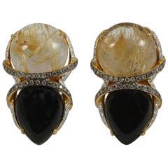 Rutillated Quartz, Onyx, Brown Diamond, Diamond Earrings Set in 18 Karat Gold
