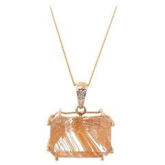 Gold, Diamond and Rutilated Quartz Pendant Necklace