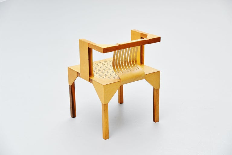 Mid-Century Modern Ruud Jan Kokke Modernist Slat Chair, Holland, 1986 For Sale