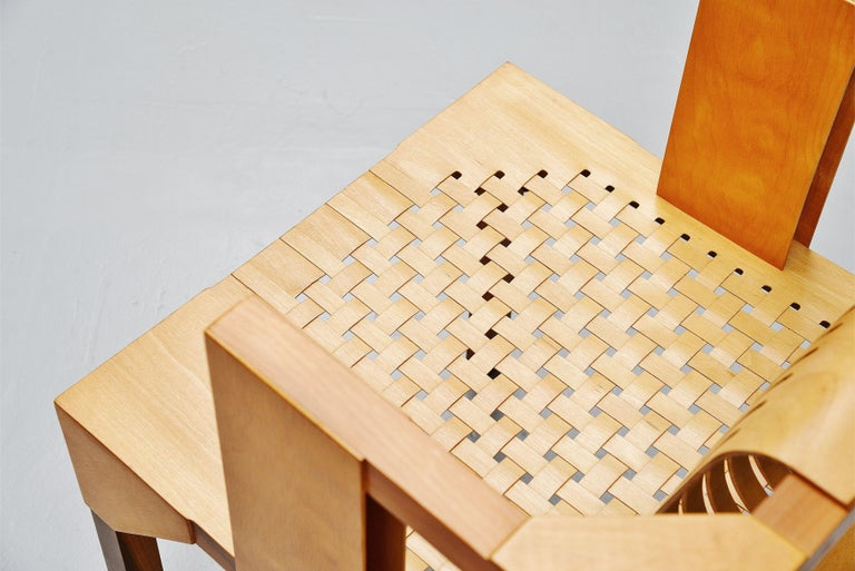 Dutch Ruud Jan Kokke Modernist Slat Chair, Holland, 1986 For Sale