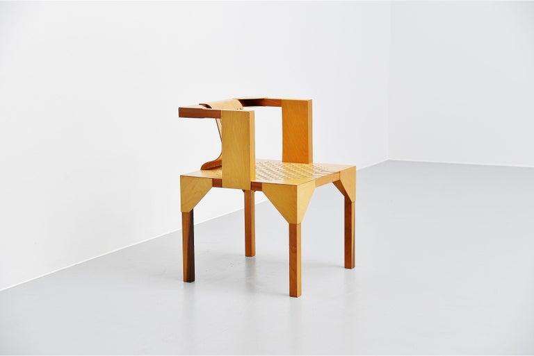 Ruud Jan Kokke Modernist Slat Chair, Holland, 1986 In Good Condition For Sale In Roosendaal, Noord Brabant