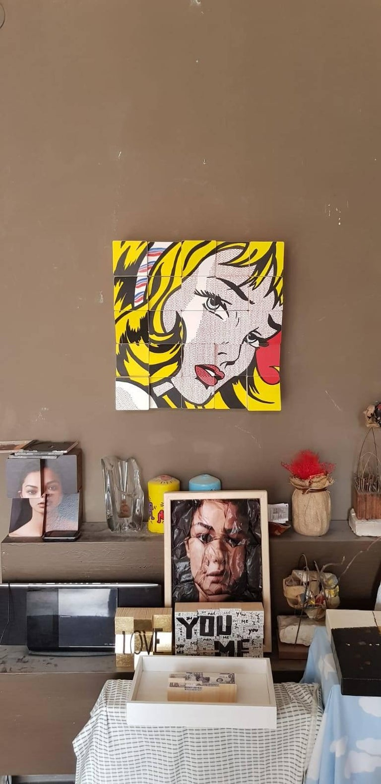 My Girl tribute to Roy Lichtenstein Acrylic Paint on Cotton Paper, Wooden Blocks - Conceptual Art by Rux Art