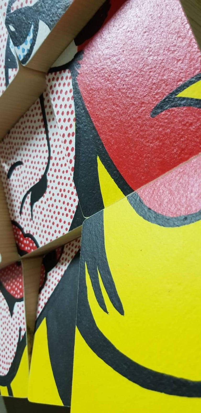 My Girl tribute to Roy Lichtenstein Acrylic Paint on Cotton Paper, Wooden Blocks For Sale 1