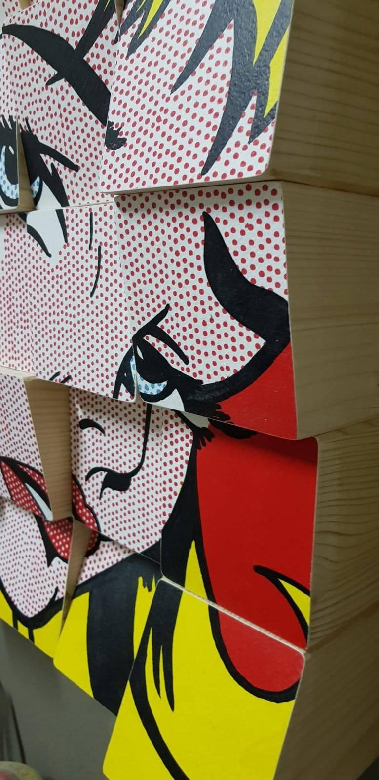 My Girl tribute to Roy Lichtenstein Acrylic Paint on Cotton Paper, Wooden Blocks For Sale 2