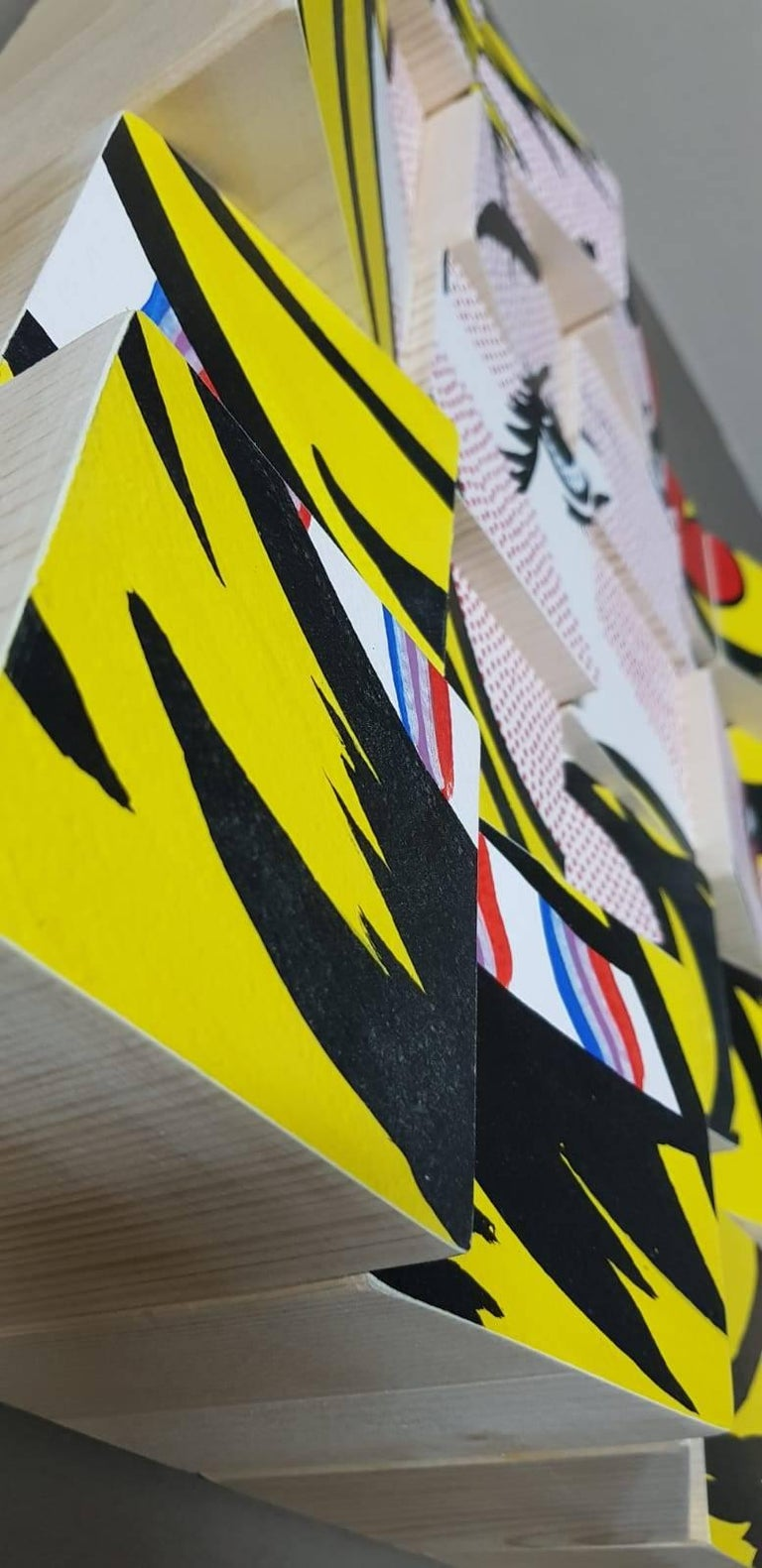 My Girl tribute to Roy Lichtenstein Acrylic Paint on Cotton Paper, Wooden Blocks For Sale 3