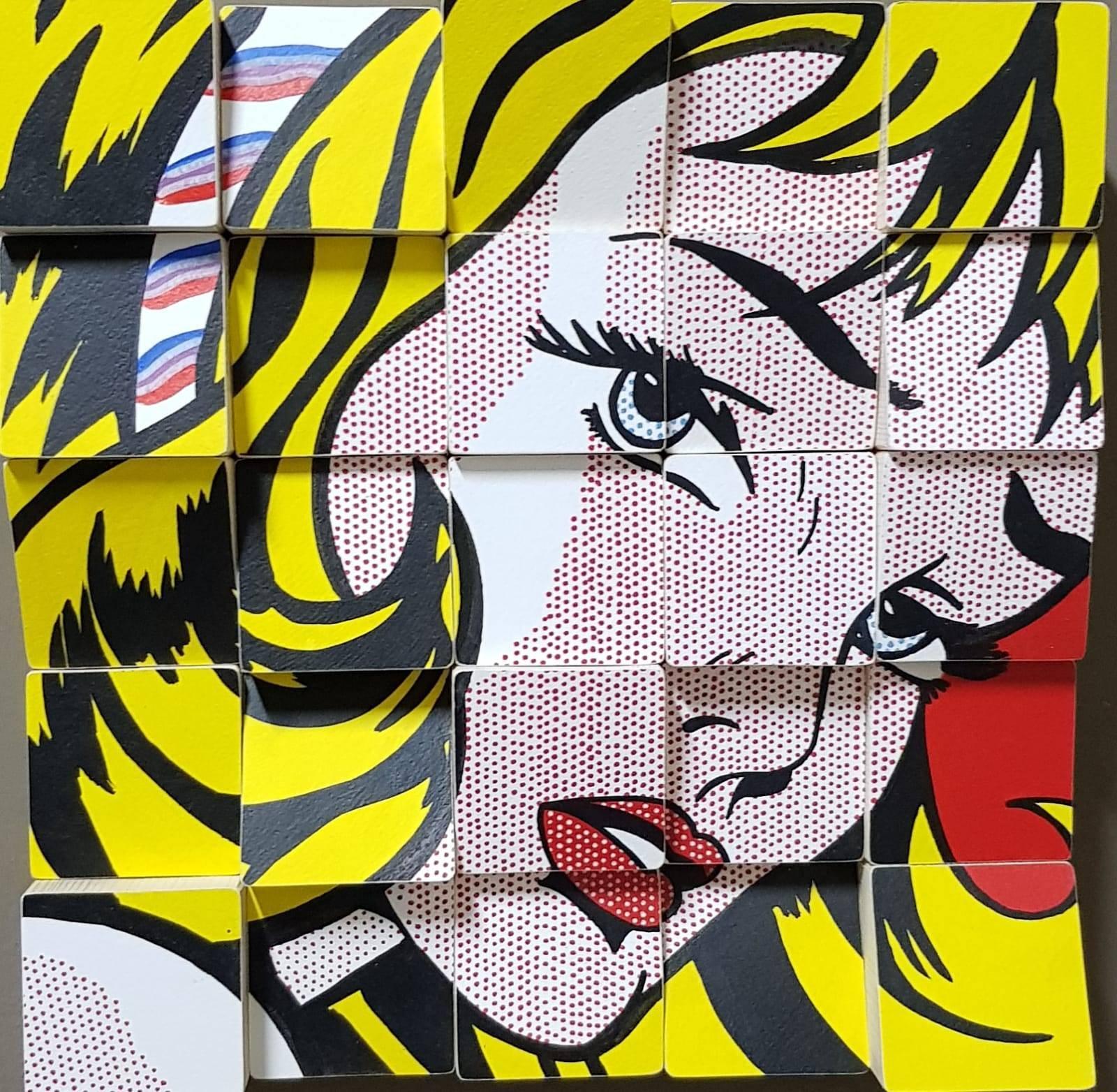 My Girl tribute to Roy Lichtenstein Acrylic Paint on Cotton Paper, Wooden Blocks