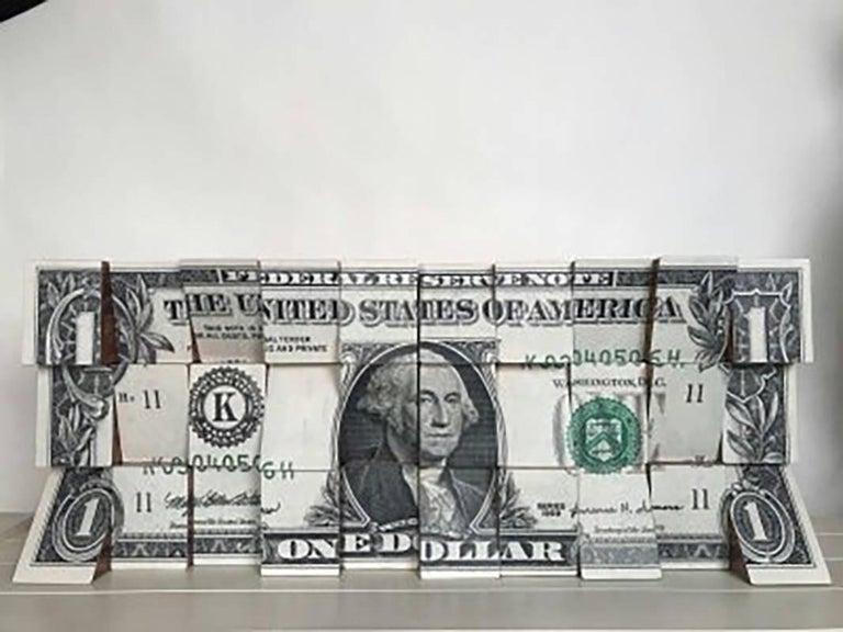 One Dollar, Wooden Blocks, Ink Jet, Original, Conceptual, Contemporary Art Sign - Sculpture by Rux Art