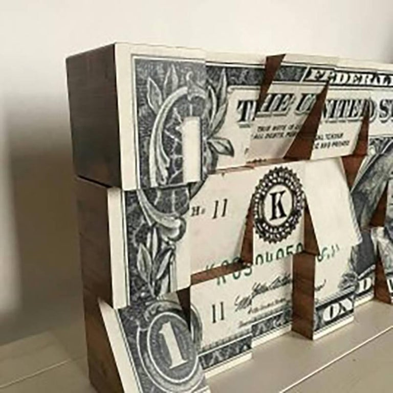 One Dollar, Wooden Blocks, Ink Jet, Original, Conceptual, Contemporary Art Sign - Brown Abstract Sculpture by Rux Art