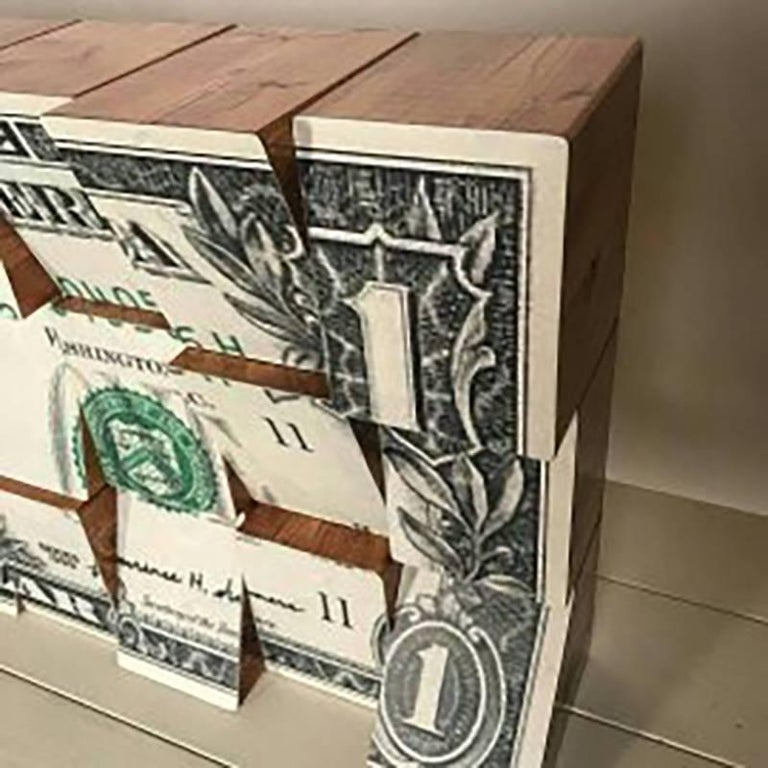 One Dollar, Wooden Blocks, Ink Jet, Original, Conceptual, Contemporary Art Sign For Sale 1