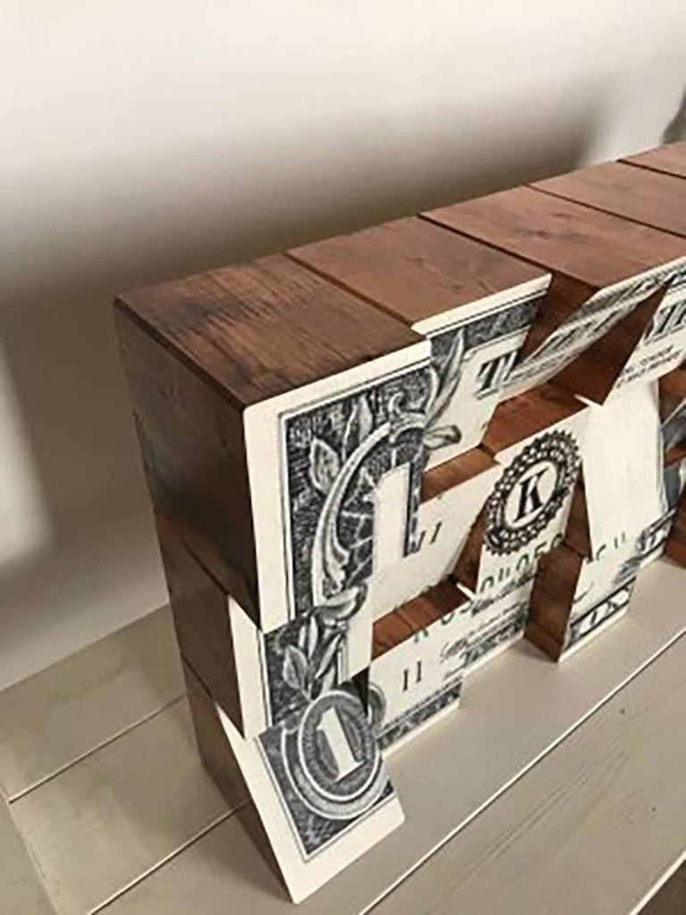 One Dollar, Wooden Blocks, Ink Jet, Original, Conceptual, Contemporary Art Sign For Sale 2