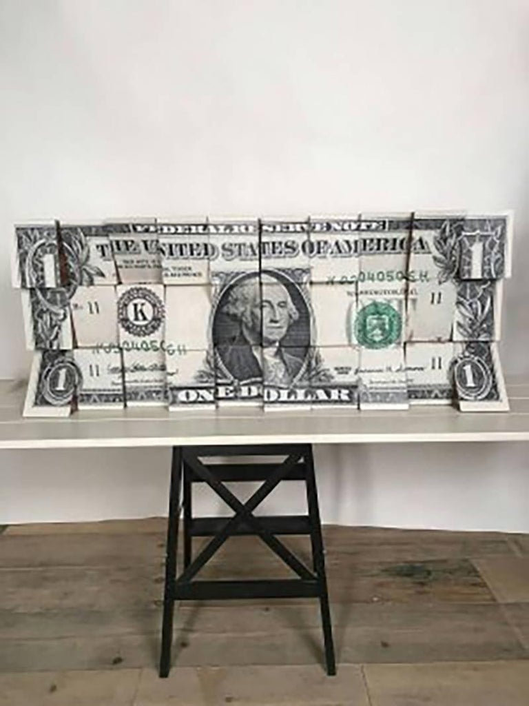 Rux Art Abstract Sculpture - One Dollar, Wooden Blocks, Ink Jet, Original, Conceptual, Contemporary Art Sign