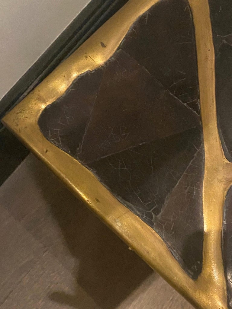 French R&Y Augousti Bronze and Black Shell Coffee Table For Sale