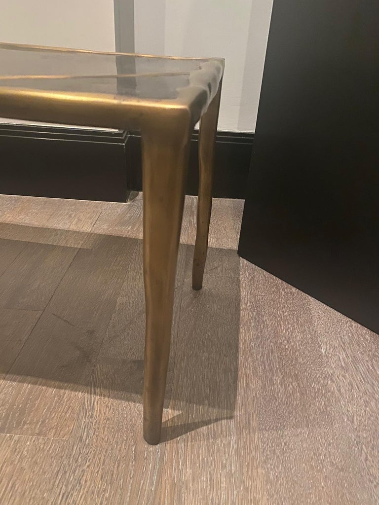R&Y Augousti Bronze and Black Shell Coffee Table For Sale 1