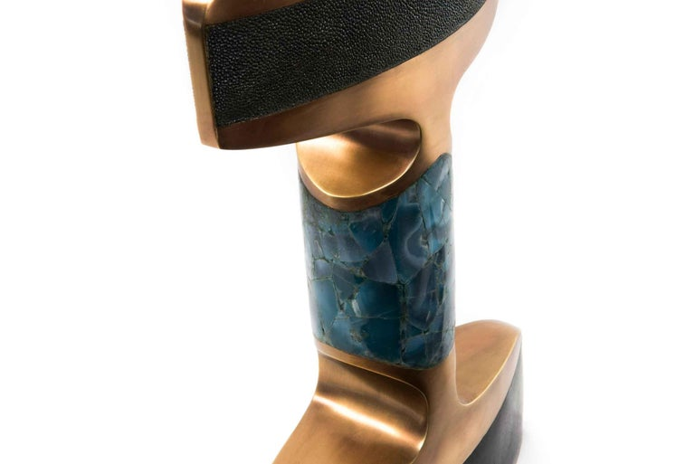 Hand-Crafted Carmen Table Lamp in Shagreen/Shell/Agate & Bronze-Patina Brass by R&Y Augousti  For Sale