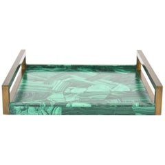 R&Y Augousti Faux Malachite Tessellated Composite and Brass Tray