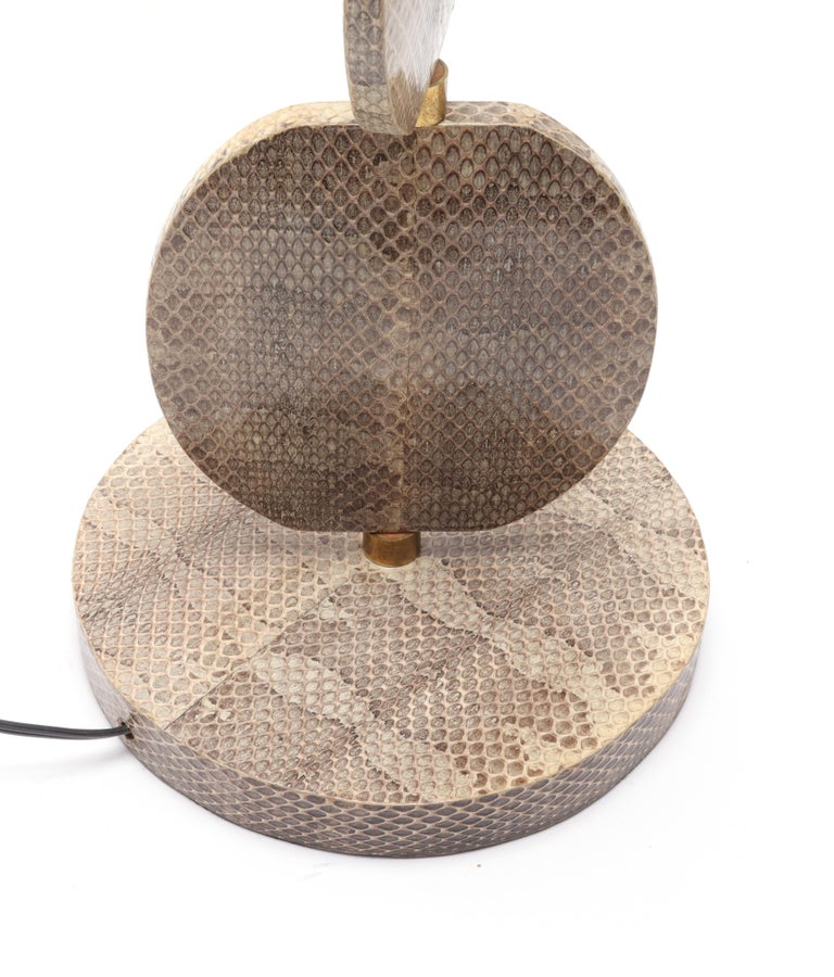 Late 20th Century R & Y Augousti French Modern Snakeskin Table Lamp For Sale