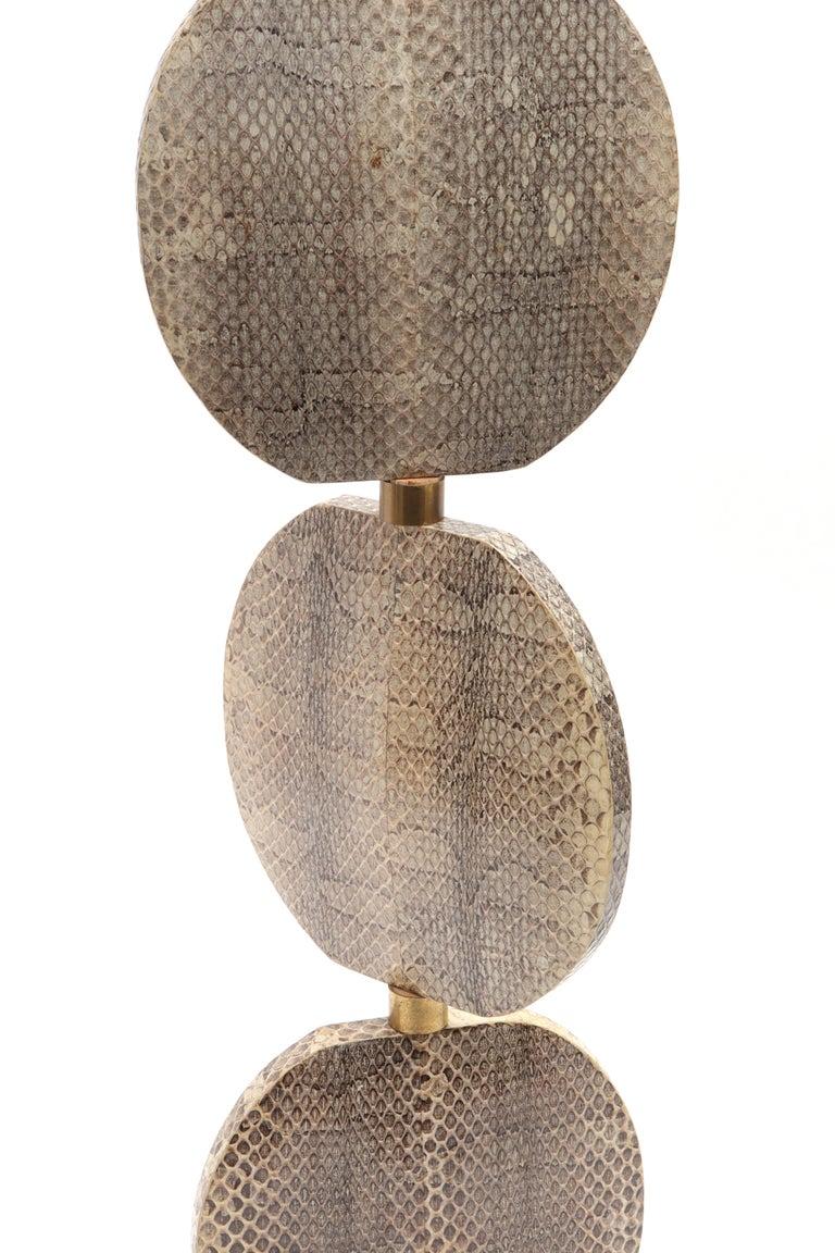 Animal Skin R & Y Augousti French Modern Snakeskin Table Lamp For Sale