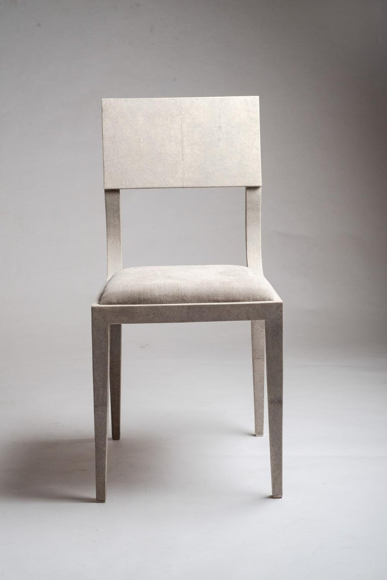 Art Deco Lola Chair in Cream Shagreen with Cream Upholstered Seat by R&Y Augousti For Sale