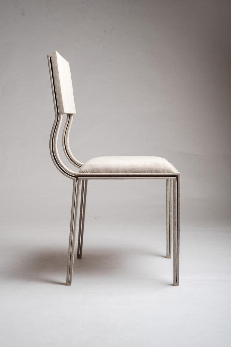 French Lola Chair in Cream Shagreen with Cream Upholstered Seat by R&Y Augousti For Sale