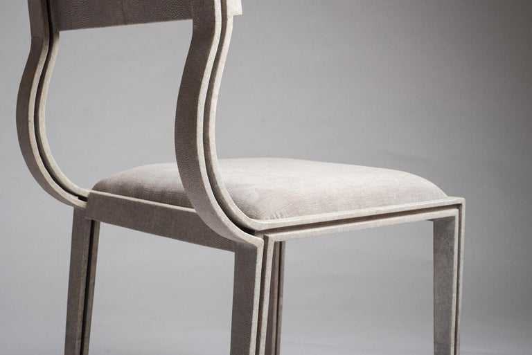 Hand-Crafted Lola Chair in Cream Shagreen with Cream Upholstered Seat by R&Y Augousti For Sale