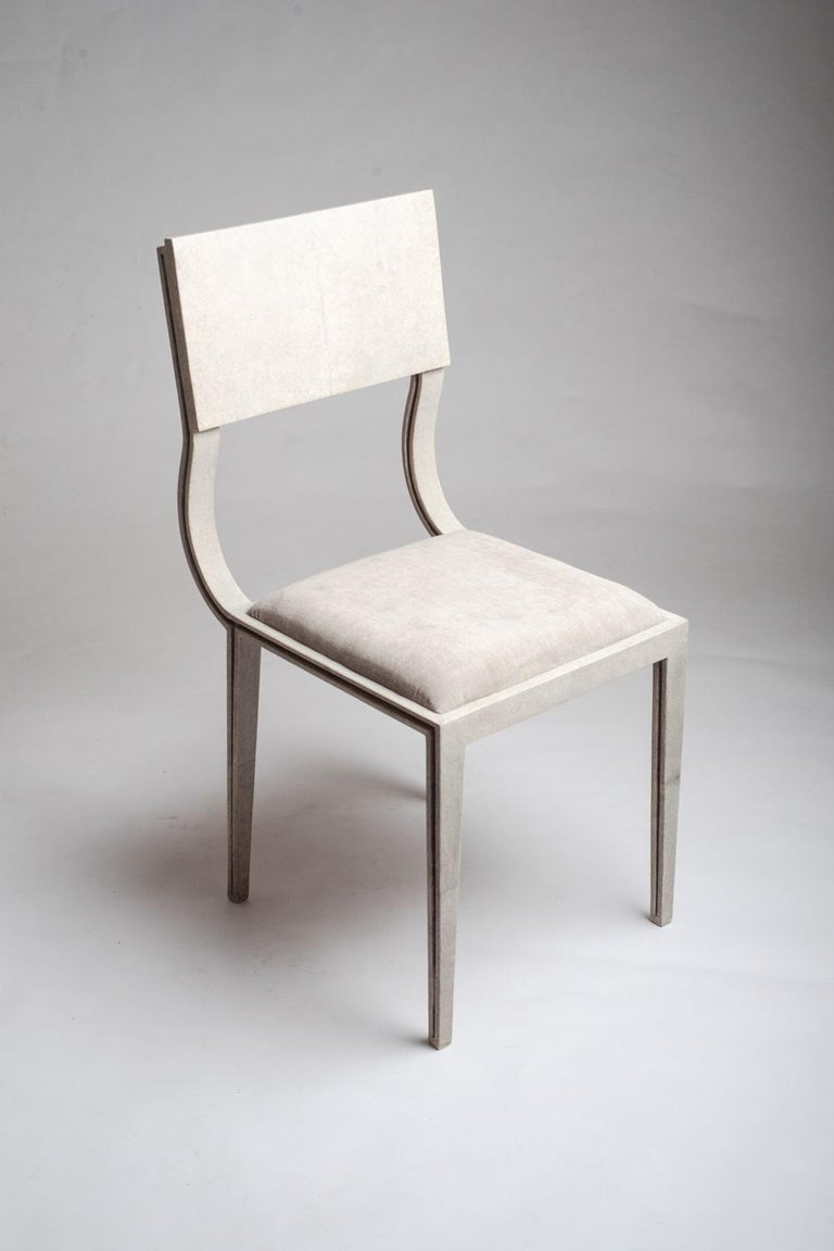 Contemporary Lola Chair in Cream Shagreen with Cream Upholstered Seat by R&Y Augousti For Sale