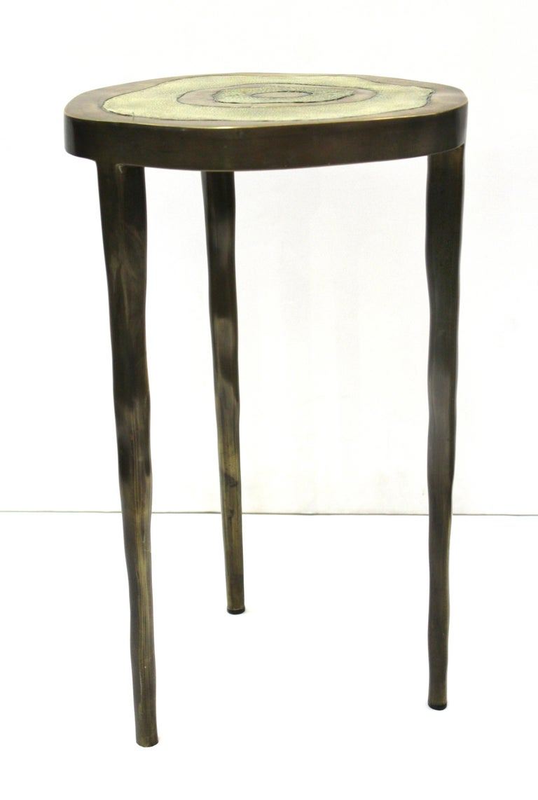 French R&Y Augousti Modern Bronze-Patina Brass Side Table With Shagreen Top For Sale