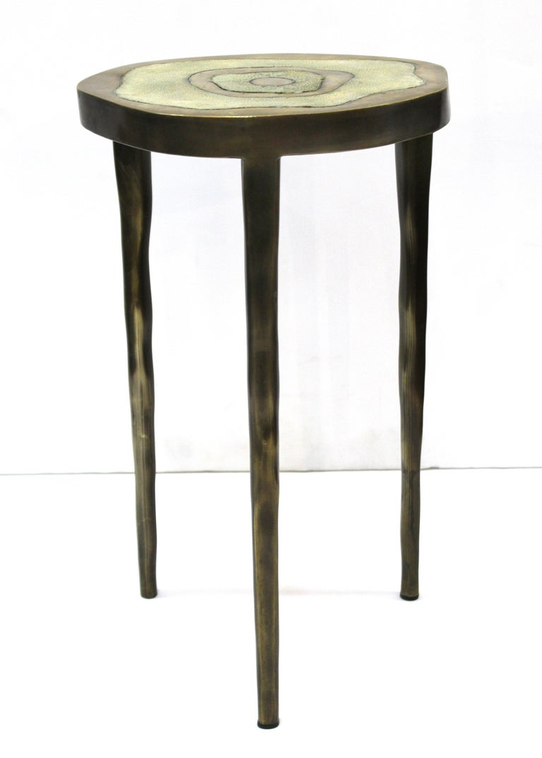 R&Y Augousti Modern Bronze-Patina Brass Side Table With Shagreen Top In Good Condition For Sale In New York, NY