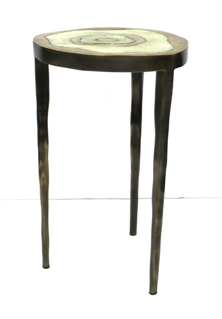 Contemporary R&Y Augousti Modern Bronze-Patina Brass Side Table With Shagreen Top For Sale