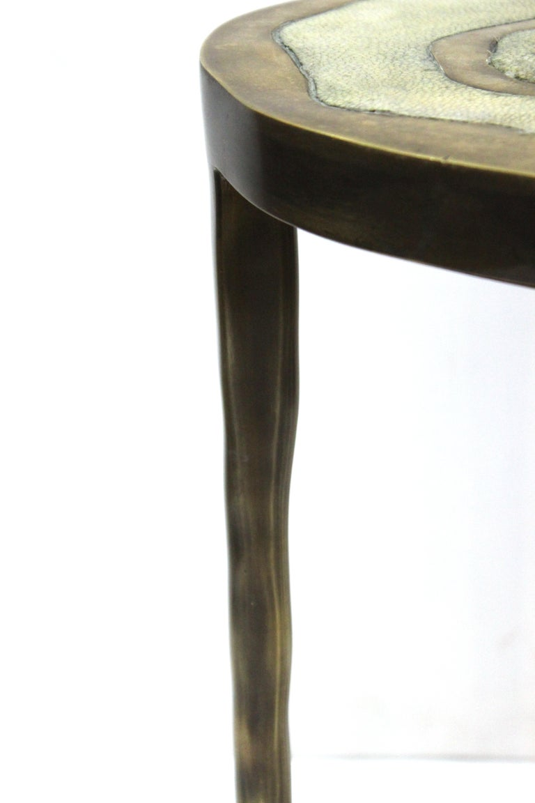 R&Y Augousti Modern Bronze-Patina Brass Side Table With Shagreen Top For Sale 2