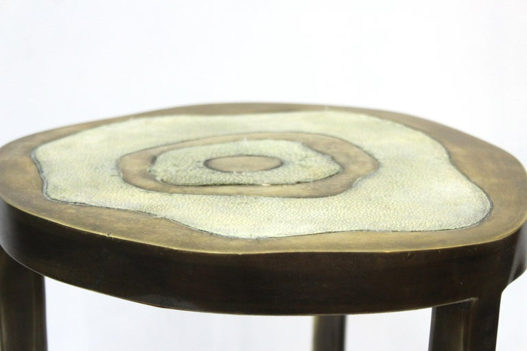 R&Y Augousti Modern Bronze-Patina Brass Side Table With Shagreen Top For Sale 3