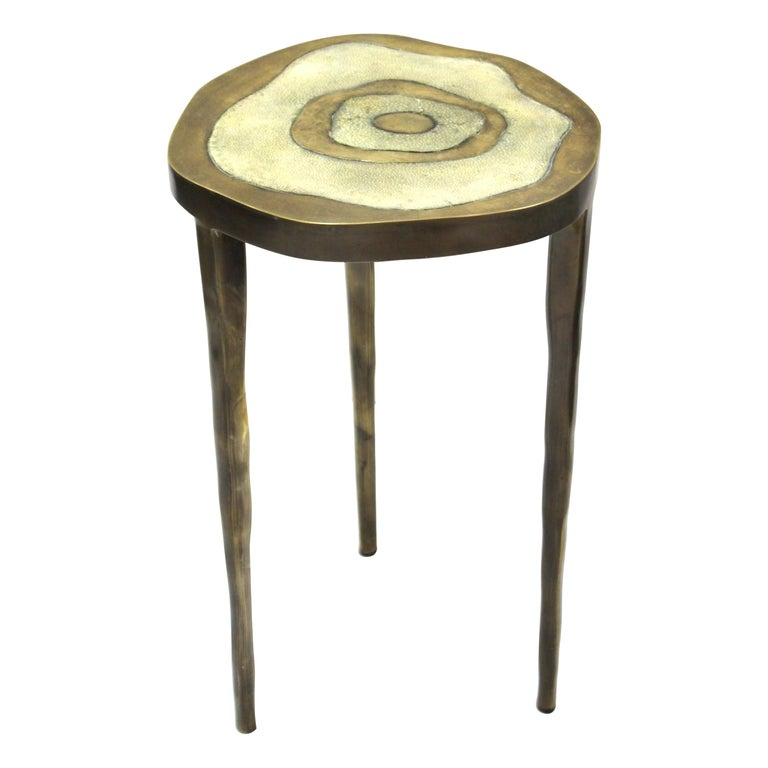 R&Y Augousti Modern Bronze-Patina Brass Side Table With Shagreen Top For Sale