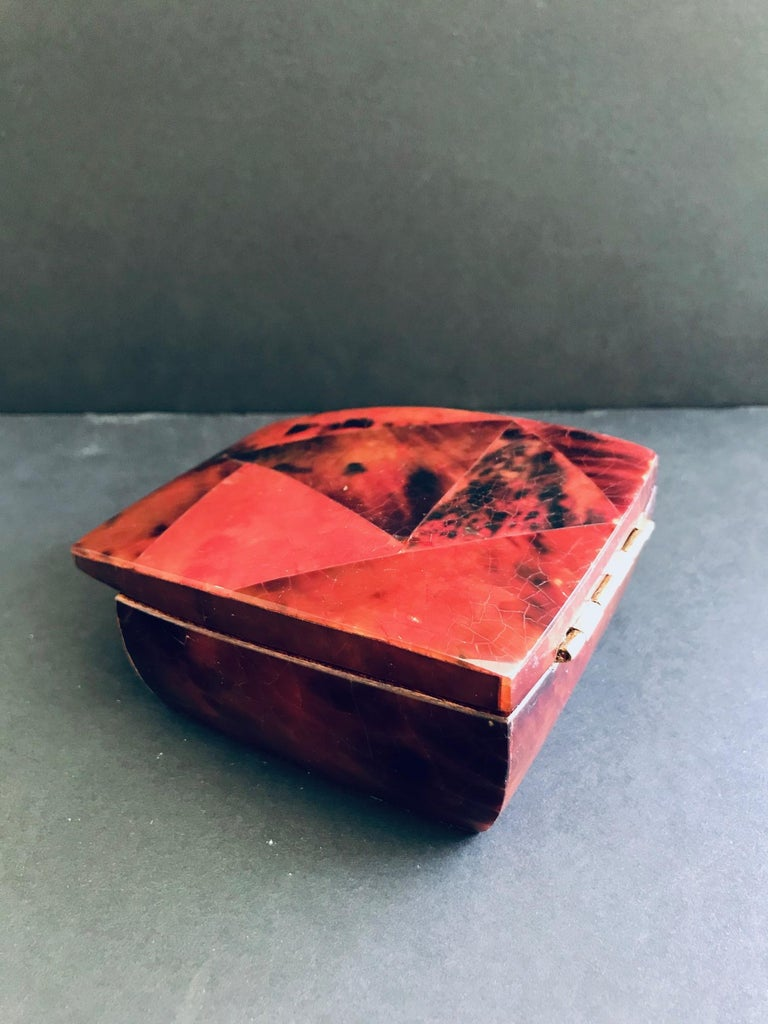 R&Y Augousti Mosaic Trinket Box in Exotic Red Pen-Shell For Sale 4