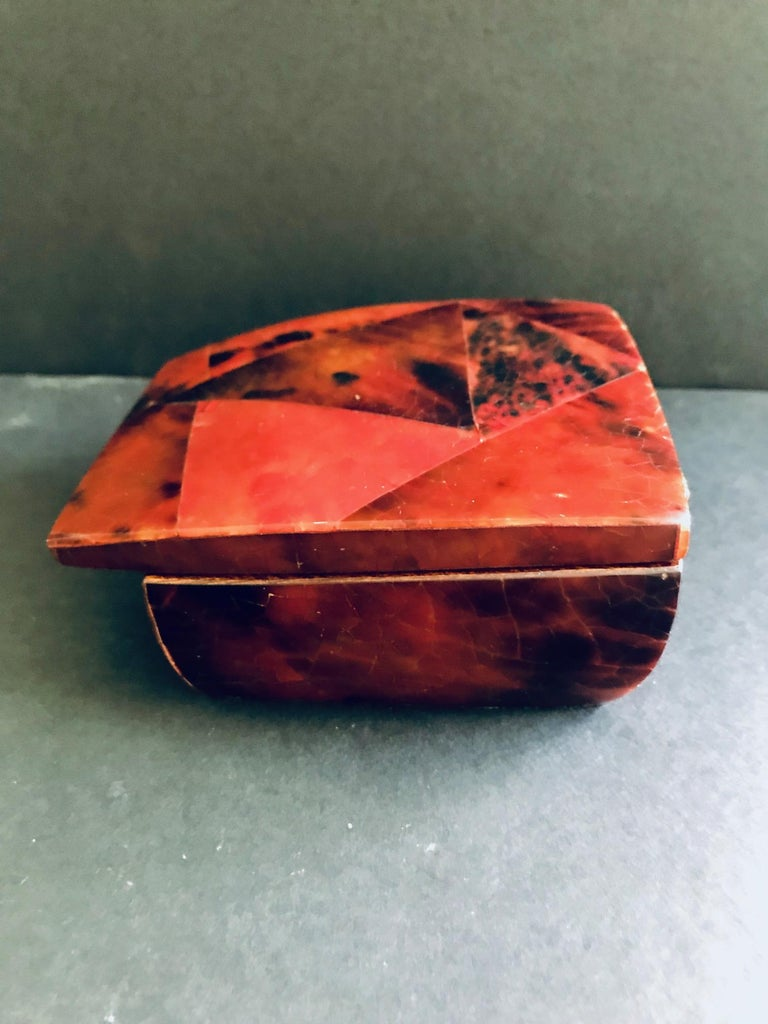 R&Y Augousti Mosaic Trinket Box in Exotic Red Pen-Shell For Sale 7