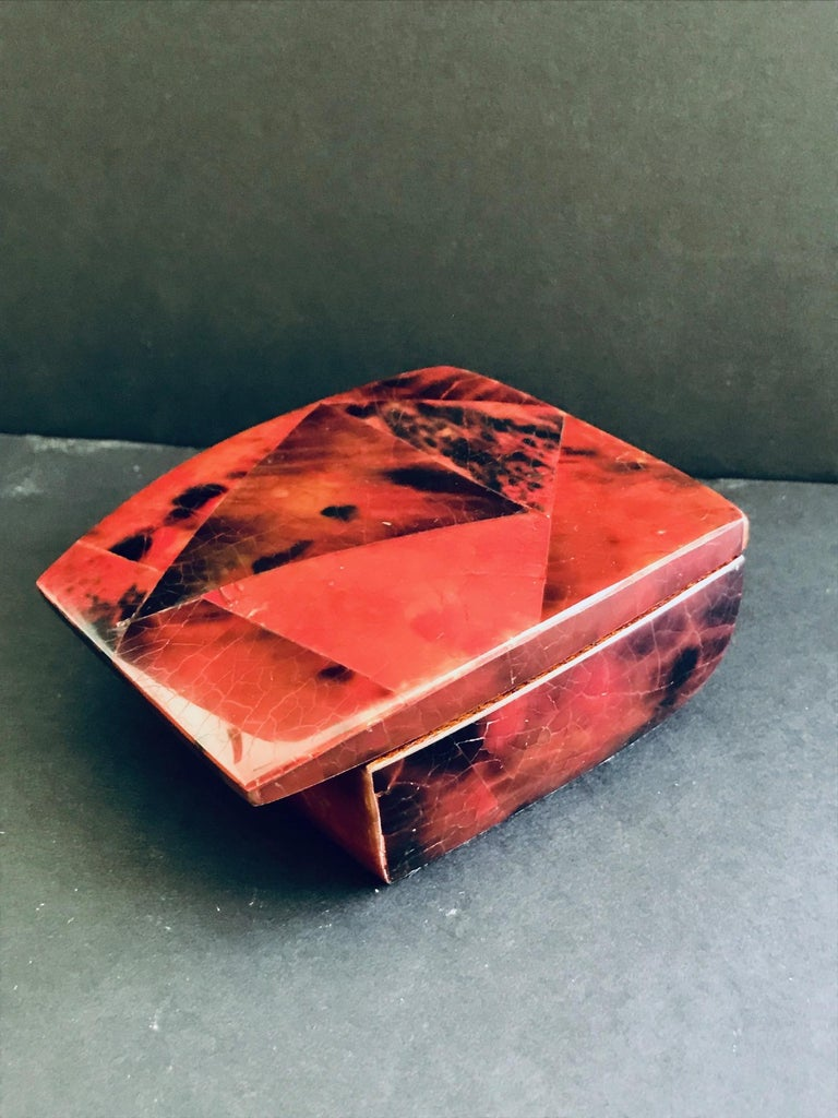Organic Modern R&Y Augousti Mosaic Trinket Box in Exotic Red Pen-Shell For Sale