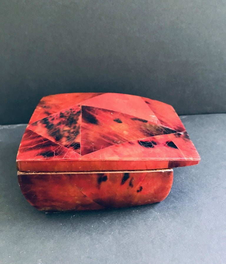 French R&Y Augousti Mosaic Trinket Box in Exotic Red Pen-Shell For Sale
