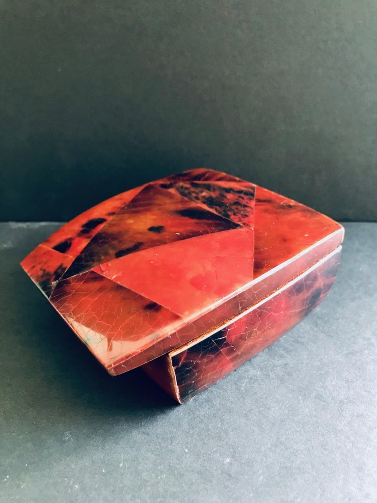Contemporary R&Y Augousti Mosaic Trinket Box in Exotic Red Pen-Shell For Sale
