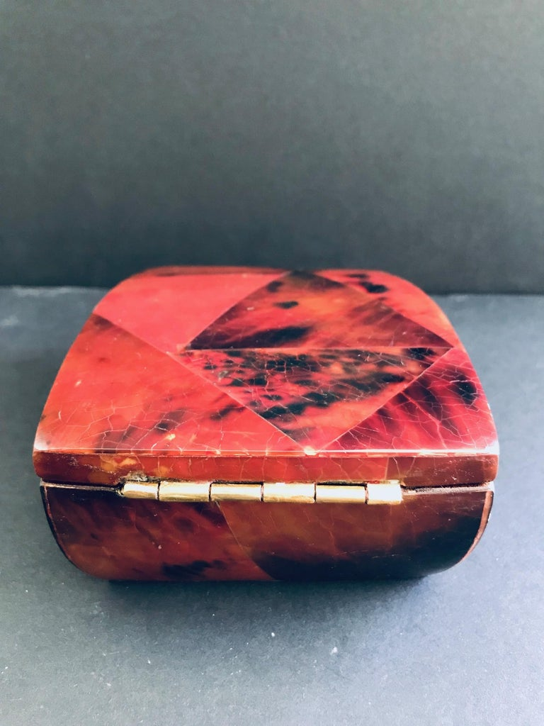 R&Y Augousti Mosaic Trinket Box in Exotic Red Pen-Shell For Sale 3