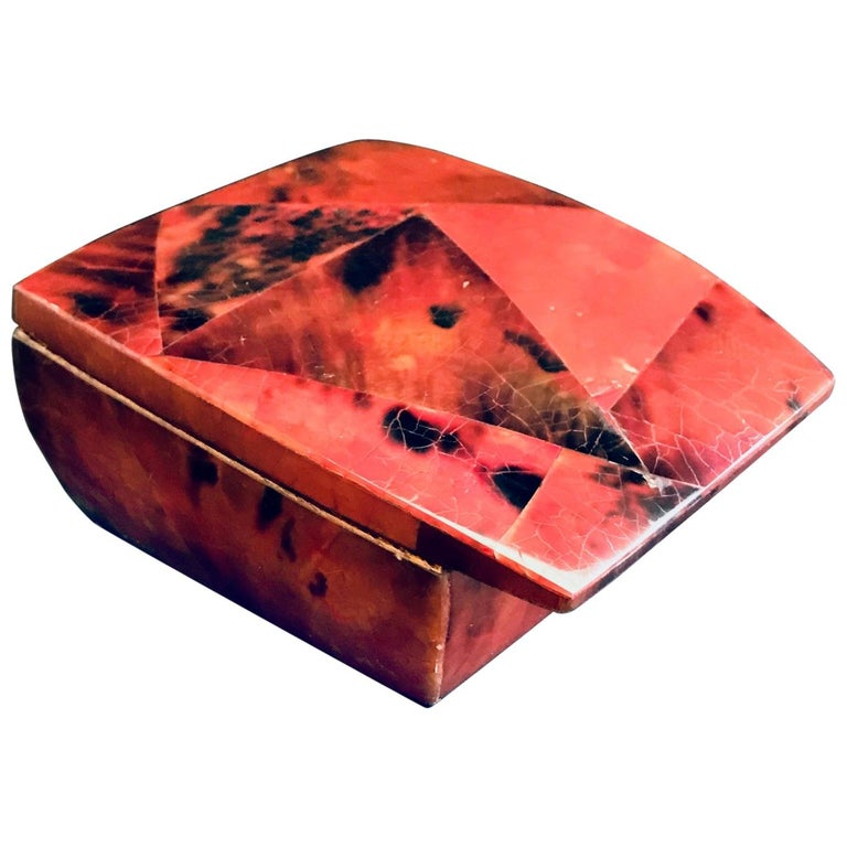R&Y Augousti Mosaic Trinket Box in Exotic Red Pen-Shell For Sale