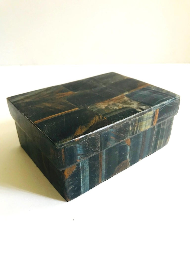 French R&Y Augousti Organic Modern Box in Tessellated Tiger Eye Stone For Sale