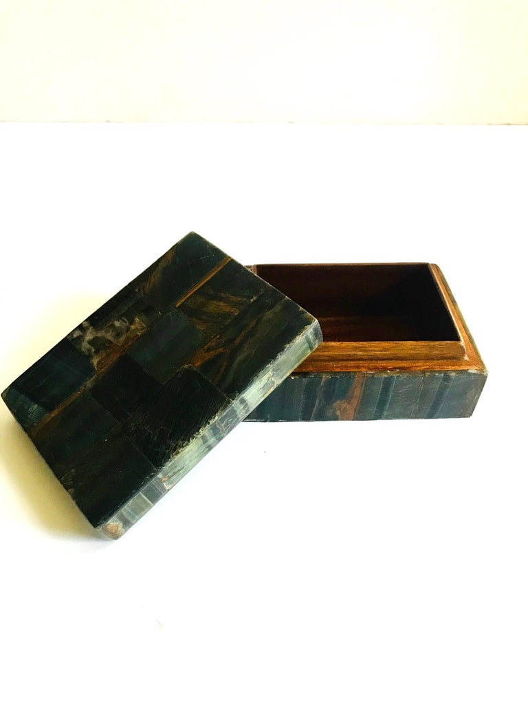 R&Y Augousti Organic Modern Box in Tessellated Tiger Eye Stone For Sale 2