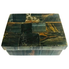 R&Y Augousti Organic Modern Box in Tessellated Tiger Eye Stone