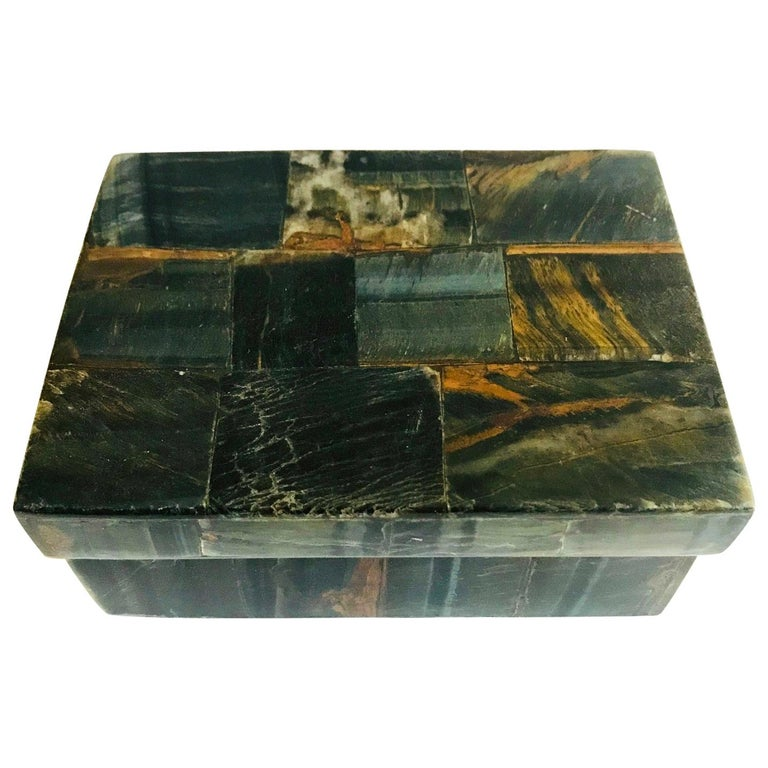 R&Y Augousti Organic Modern Box in Tessellated Tiger Eye Stone For Sale