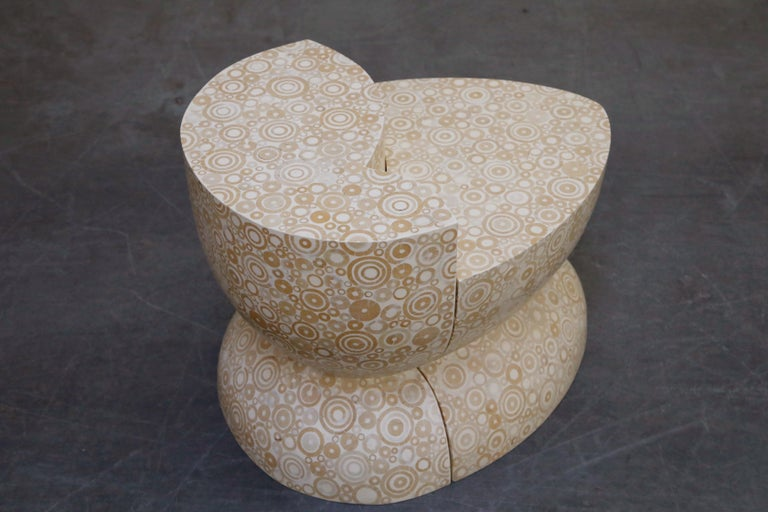 R&Y Augousti Pair of Mosaic Inlay Nesting Side Tables, 1980s, Signed In Good Condition For Sale In Los Angeles, CA