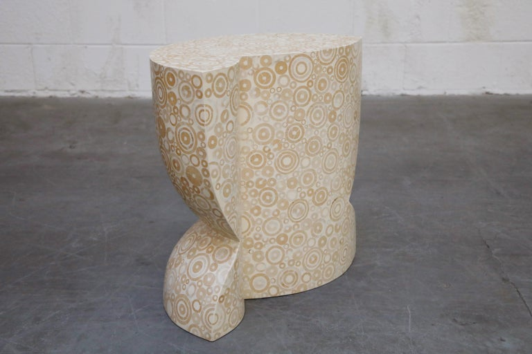 R&Y Augousti Pair of Mosaic Inlay Nesting Side Tables, 1980s, Signed For Sale 2