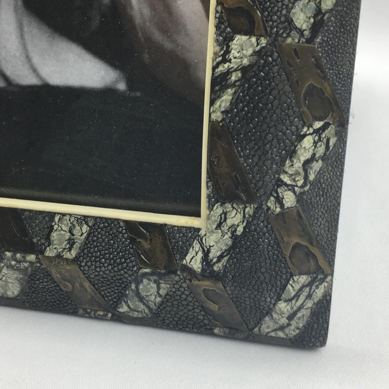 Glass R&Y Augousti Paris Shagreen Marquetry Picture Photo Frame Marble Metal Details For Sale