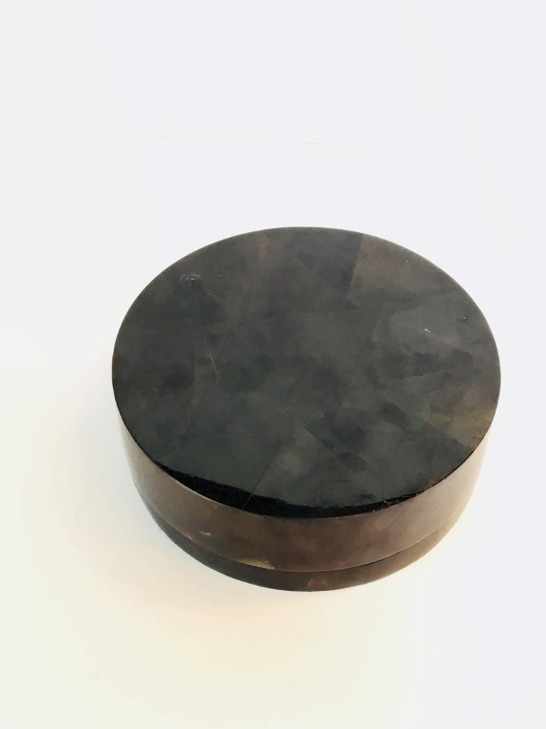 Black R&Y Augousti large round pen shell box.