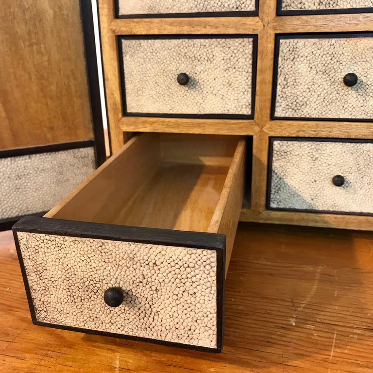 20th Century R&Y Augousti Shagreen and Lacquered Table Box, with Concealed Compartments For Sale