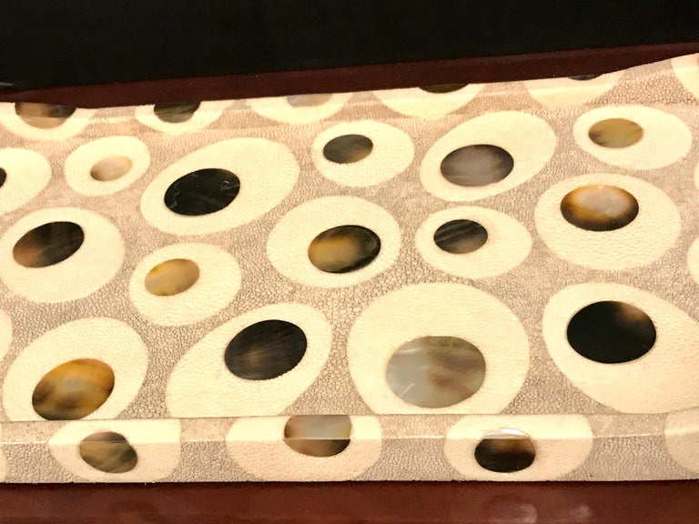 French R&Y Augousti Shagreen and Mother of Pearl Oval Tray For Sale